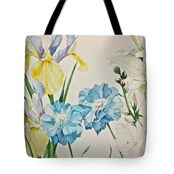 Tote Bag featuring the painting A Variety-posthumously Presented Paintings Of Sachi Spohn  by Cliff Spohn