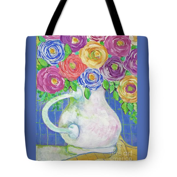 Tote Bag featuring the painting A Vase Full Of Happiness by Rosemary Aubut