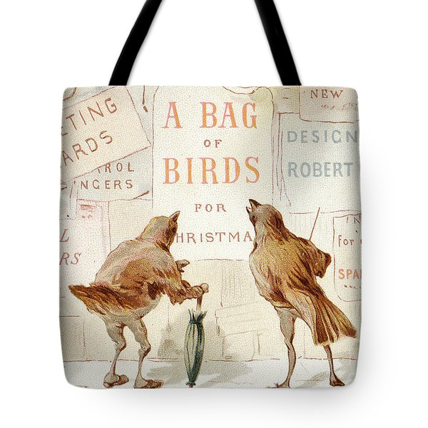 A Victorian Christmas Card Of Two Birds Looking At A Poster Of A Bag Of Birds For Christmas Tote Bag