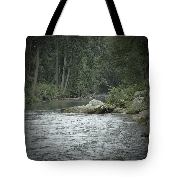 A View Downstream Tote Bag by Donald C Morgan