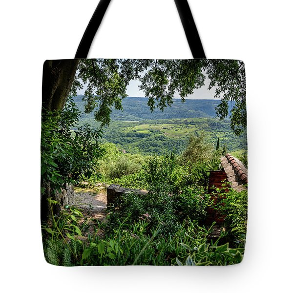 A View From Groznjan Of The Istrian Hill Town Countryside, Istria, Croatia Tote Bag