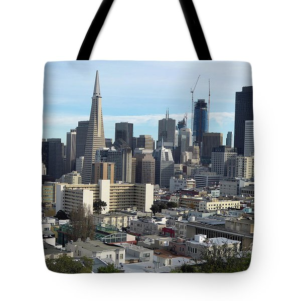 Tote Bag featuring the photograph A View Of Downtown From Nob Hill by Steven Spak
