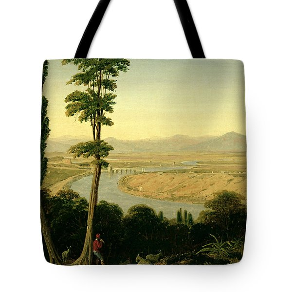 A View Of The Tiber And The Roman Campagna From Monte Mario Tote Bag by William Linton