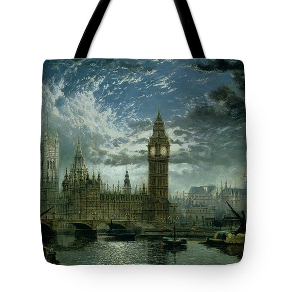 A View Of Westminster Abbey And The Houses Of Parliament Tote Bag