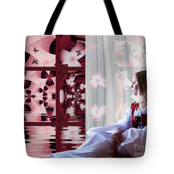 Tote Bag featuring the digital art A View To The Water Garden by Michelle H