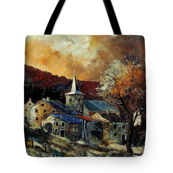 A Village In Autumn Tote Bag by Pol Ledent