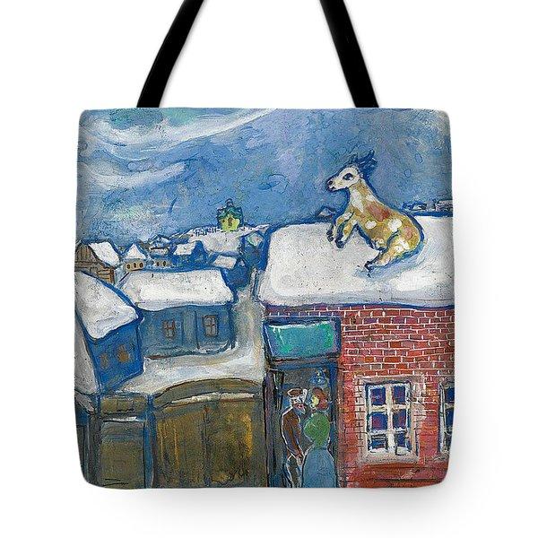 A Village In Winter Tote Bag