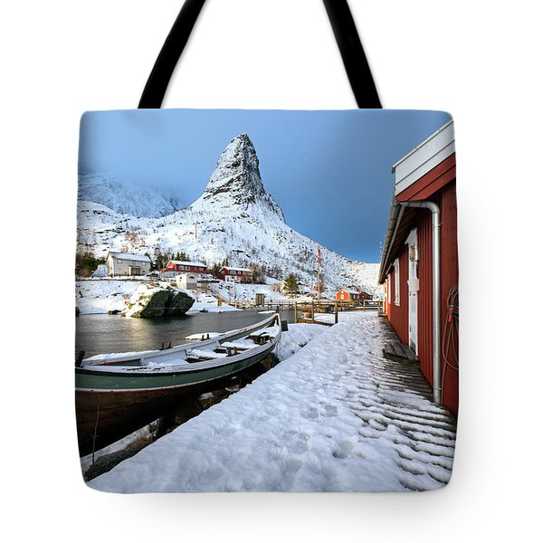 Tote Bag featuring the photograph A Village Lofoten by Dubi Roman