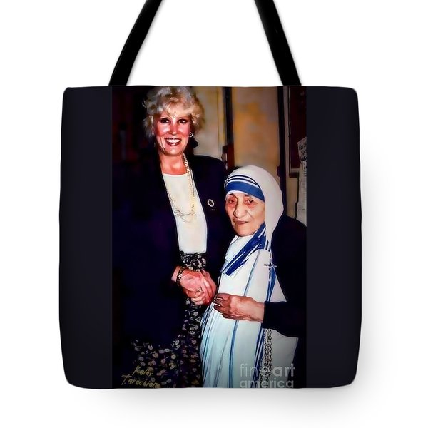 Tote Bag featuring the digital art A Vist With Mother Teresa by Kathy Tarochione