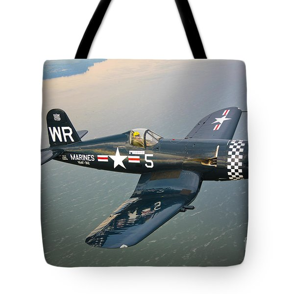 A Vought F4u-5 Corsair In Flight Tote Bag