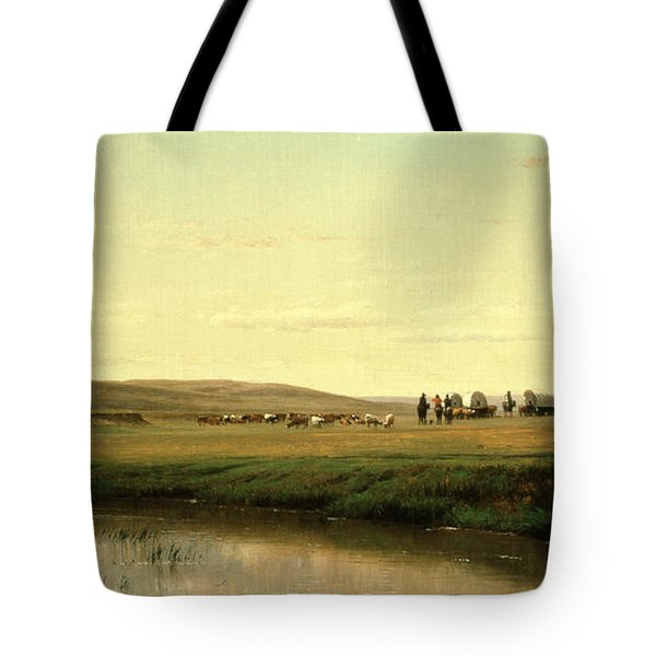 A Wagon Train On The Plains Tote Bag by Thomas Worthington Whittredge