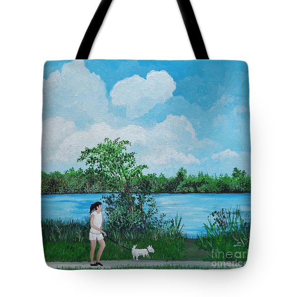 A Walk Along The River Tote Bag