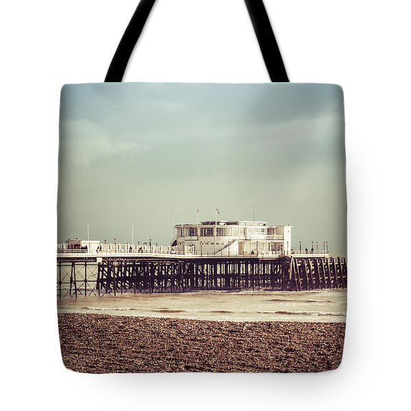 A Walk By The Pier Tote Bag by David Warrington