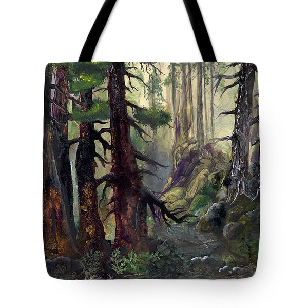 Tote Bag featuring the painting A Walk In The Woods by Sherry Shipley