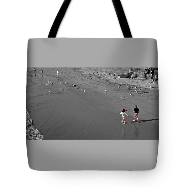 A Walk On The Beach With Dad Tote Bag
