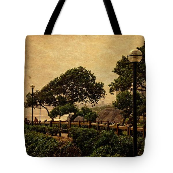 Tote Bag featuring the photograph A Walk On The Edge - Peru by Mary Machare