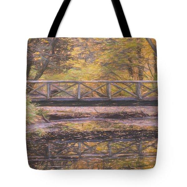 A Walking Bridge Reflection On Peaceful Flowing Water. Tote Bag