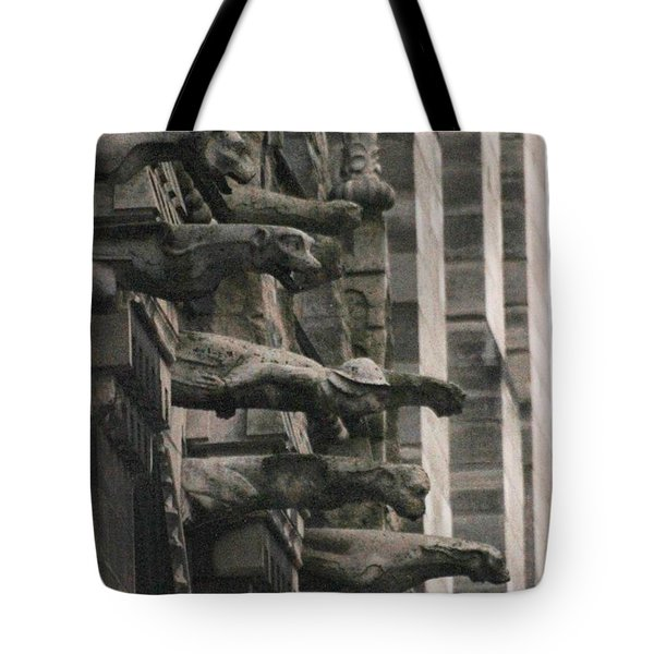 A Wall Of Gargoyles Notre Dame Cathedral Tote Bag
