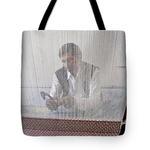 A Weaver Weaves A Carpet. Tote Bag