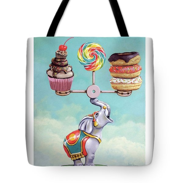 Tote Bag featuring the painting A Well-balanced Diet by Linda Apple
