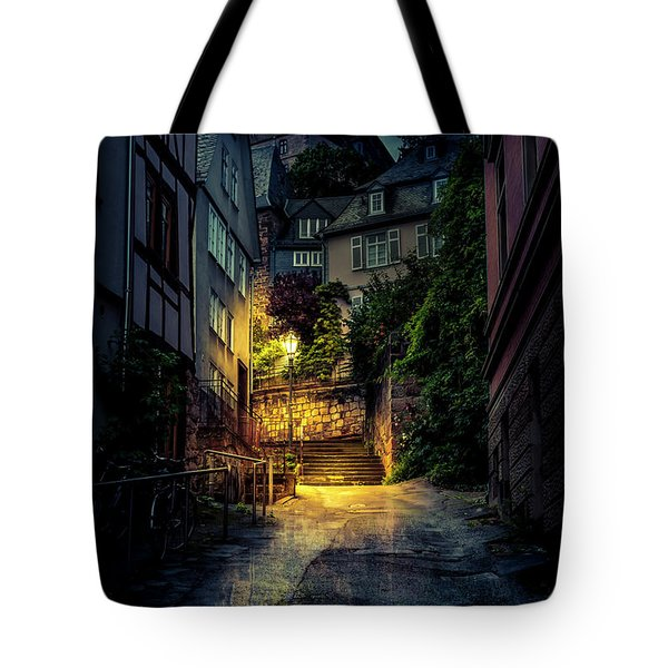 Tote Bag featuring the photograph A Wet Evening In Marburg by David Morefield