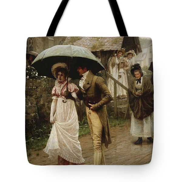 A Wet Sunday Morning Tote Bag by Edmund Blair Leighton