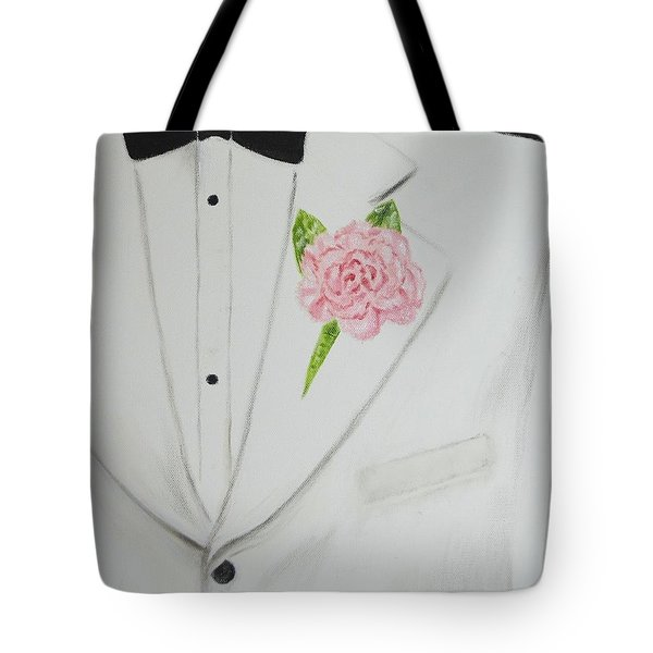 A White Sport Coat And A Pink Carnation Tote Bag