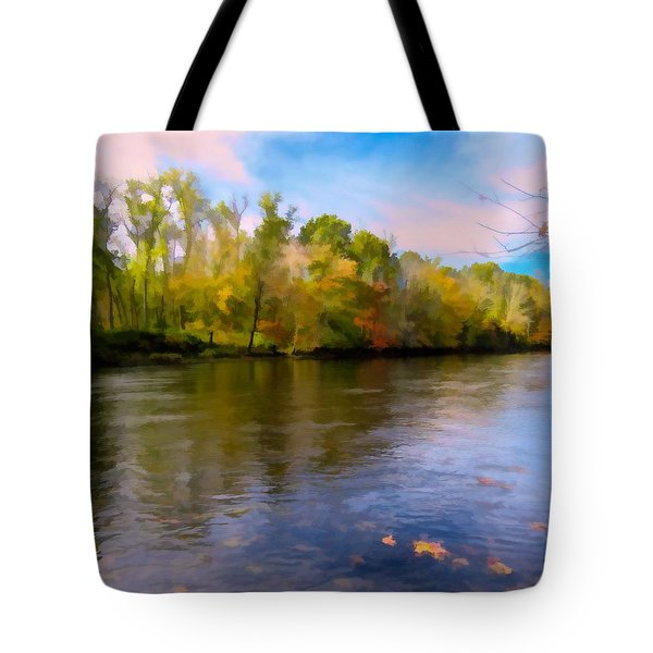 A Wide Scenic View Of Shetucket River. Tote Bag