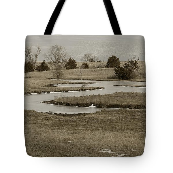 A Winding Creek In Winter As Geese Fly Overhead Tote Bag