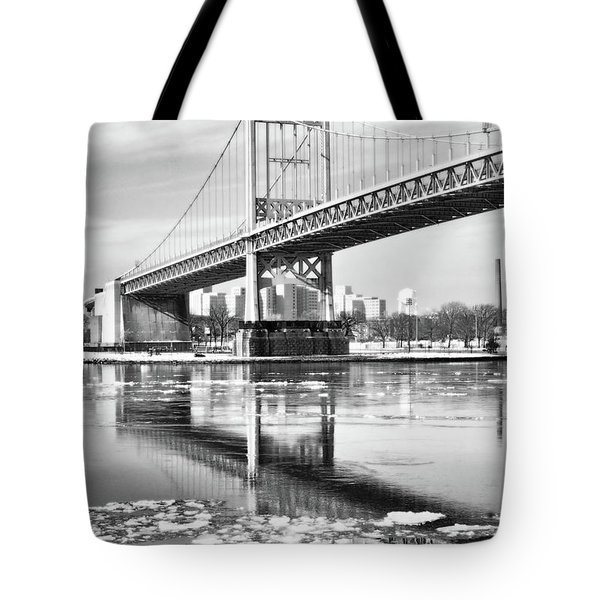 A Winter Portrait Of The Triboro Bridge Tote Bag