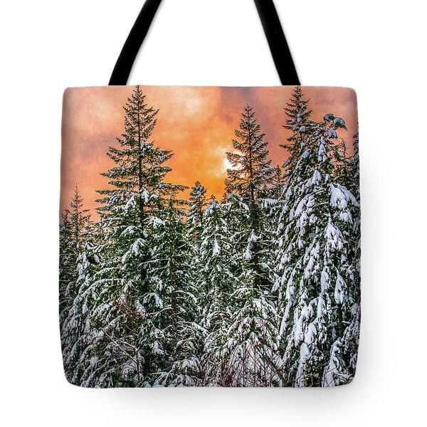 A Winters Sky Set Ablaze Tote Bag