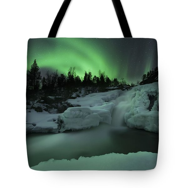 A Wintery Waterfall And Aurora Borealis Tote Bag