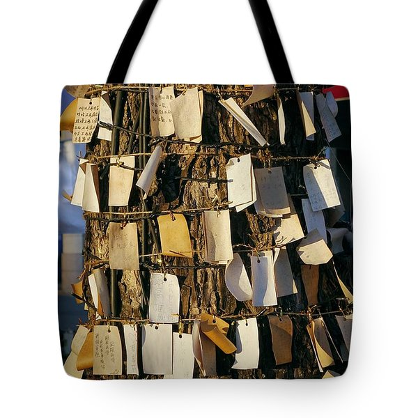 A Wishing Tree With Many Requests Tote Bag by Yali Shi
