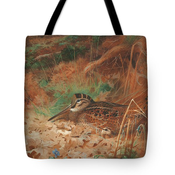 A Woodcock And Chick In Undergrowth Tote Bag by Archibald Thorburn