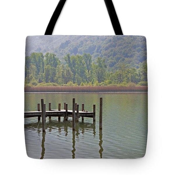 A Wooden Pier At A Small Lake Tote Bag by Joana Kruse