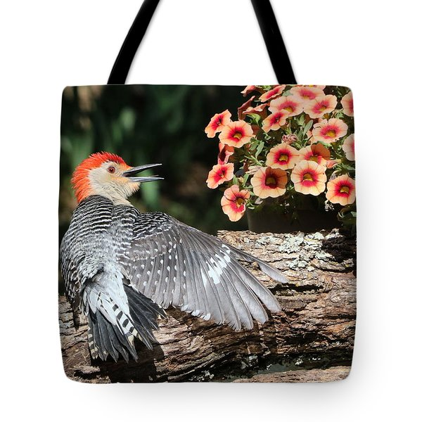 A Woodpecker Conversation Tote Bag by Sheila Brown