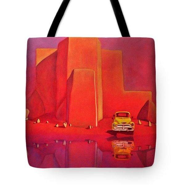 Tote Bag featuring the painting A Yellow Truck With A Red Moon In Ranchos by Art West