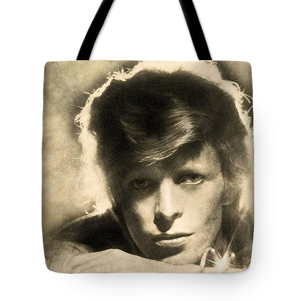 Tote Bag featuring the digital art A Young David Bowie by Anthony Murphy