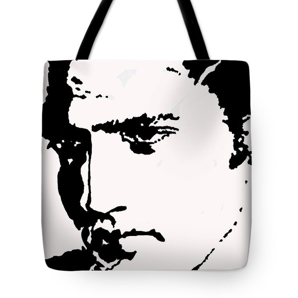 Tote Bag featuring the drawing A Young Elvis by Robert Margetts