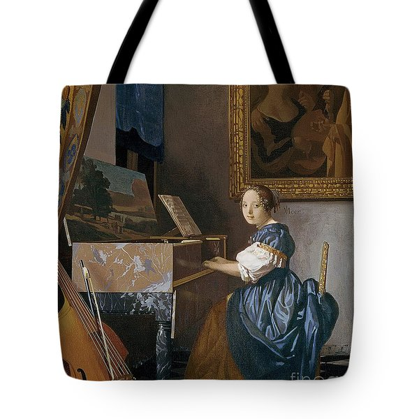 A Young Lady Seated At A Virginal Tote Bag by Jan Vermeer