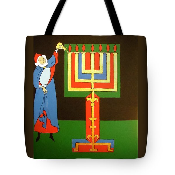 Tote Bag featuring the painting Aaron Lighting The Menorah by Stephanie Moore