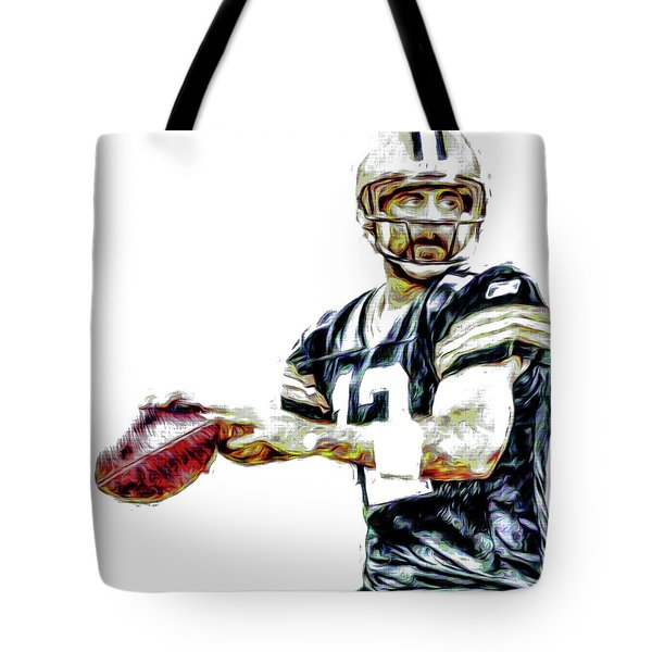 Tote Bag featuring the photograph Aaron Rodgers Green Bay Packers Painted by David Haskett