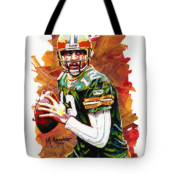 Aaron Rodgers Tote Bag by Maria Arango