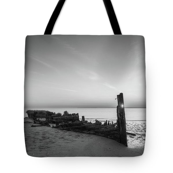 Abandoned Boat Sunset Bw Tote Bag