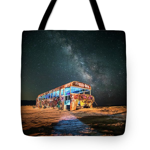 Abandoned Bus Under The Milky Way Tote Bag