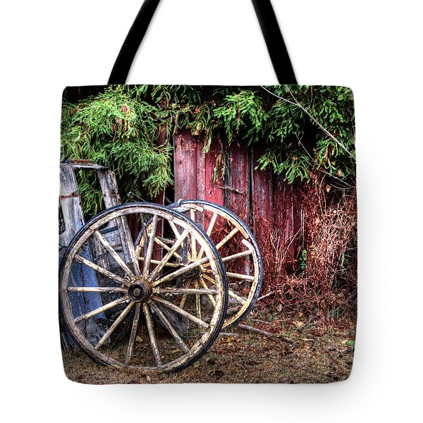 Tote Bag featuring the photograph Abandoned Cart by Jim and Emily Bush