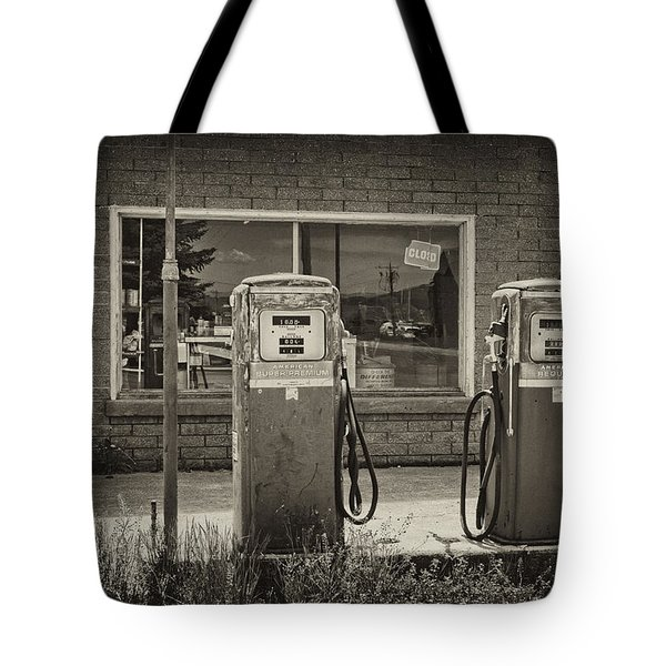 Tote Bag featuring the photograph Abandoned Gasoline Pumps by Hugh Smith
