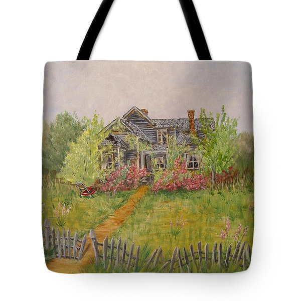Tote Bag featuring the painting Abandoned House by Quwatha Valentine