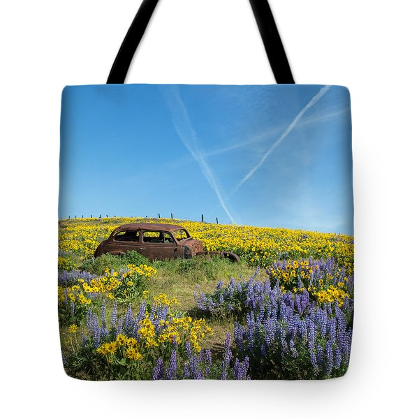 Abandoned In A Field Of Flowers Tote Bag by Angie Vogel