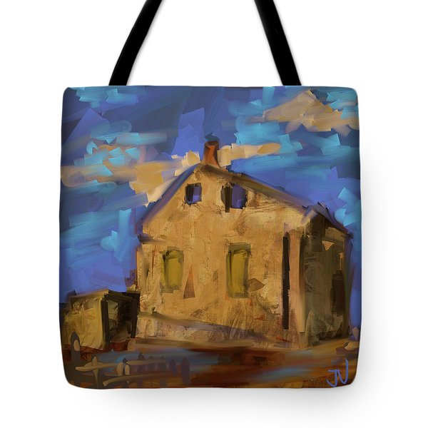 Tote Bag featuring the digital art Abandoned Limestone - 26oct2017 by Jim Vance